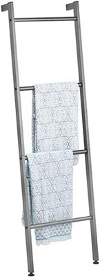 mDesign Metal Leaning Storage Ladder